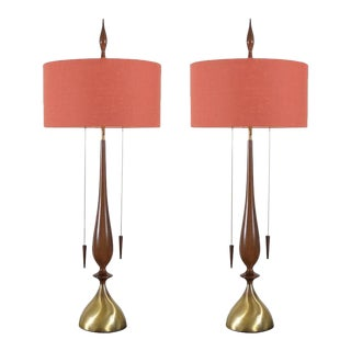 Monumental Pair of Walnut and Brass Lamps by Frederick Cooper