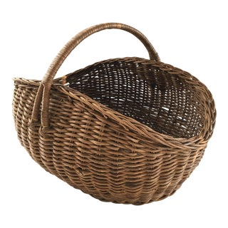 1940's French Market Hand Woven Wicker Basket