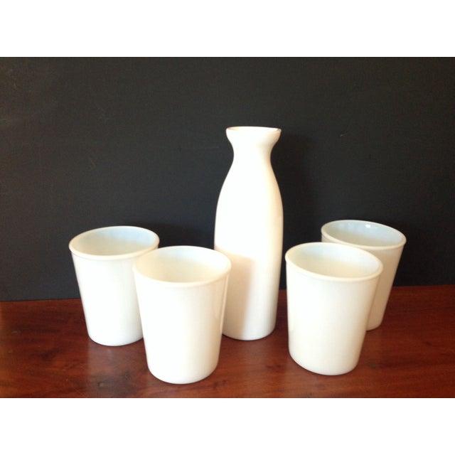 Image of Vintage White Milk Glass Pitcher & 4 Glasses