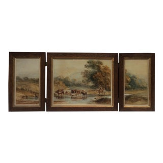 Triptych Antique Landscape Watercolor With Cows