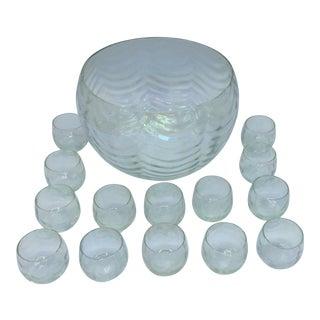 Opaline Glass Punch Bowl Set- 15 Pieces