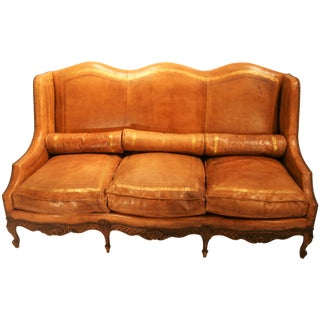 French Louis XV Camelback Embossed Leather Sofa