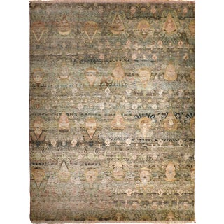 Hand Knotted Indian Artisan Abstract Ikat Rug - 9'x 12'