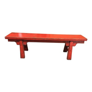 Red Distressed Finish Wood Bench
