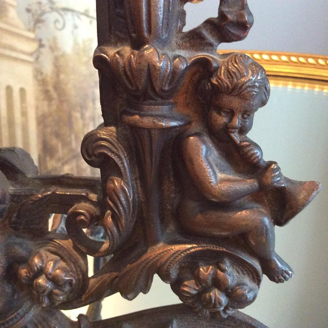 Antique Cast Iron Cherub Mirror - Image 6 of 11