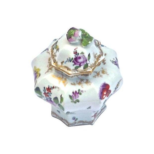 Image of Antique Meissen Floral Lidded Jar