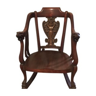 Antique Rocking Chair, Goddess Carving with Lions