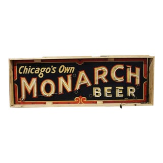 1930s Hand Painted Neon Sign Chicago's Own Monarch Beer