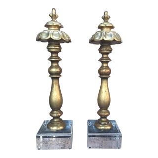 Pair of 19th C. Gilt Wood Italian Finials on Lucite Bases