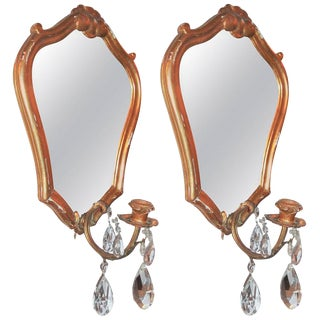 Giltwood French Mirrored Girandoles - A Pair