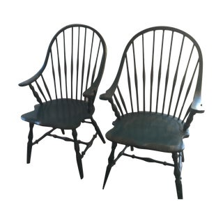 Green Windsor Chairs - Pair