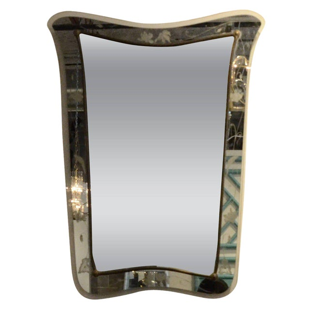 Attributed to Pietra Cheisa for Fontana Arte Mid Century Modern Italian Etched Glass Mirror - Image 1 of 6