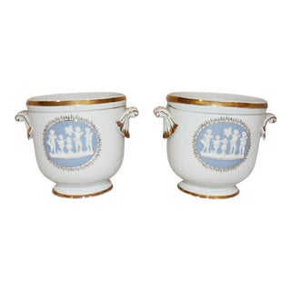 24k Gold Wedgwood-Style Cachepots - A Pair