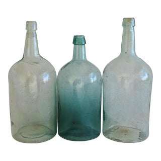 Antique Tall French Demijohn Wine Bottles - Set of 3