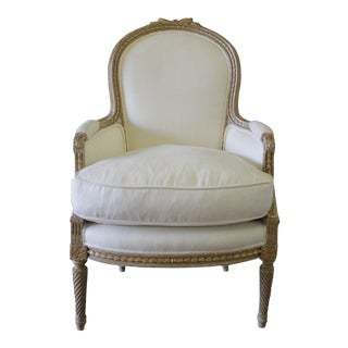19th Century Carved Ribbon Louis XVI Bergère Silk and Linen Upholstered Chair
