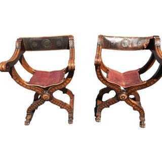 Italian Dantesque Chairs - A Pair