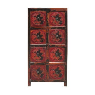 Rustic Red Flower Motif 8-Drawer Storage Cabinet