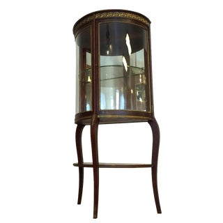 Antique Display Cabinet With Curved Glass