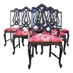 Image of Hollywood Regency Chinoiserie Red Toile Black Louis French Dining Chairs - 6