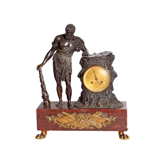 """French Empire """"Farnese Hercules"""" Mantel Clock attributed to Claude Galle - Image 11 of 11"""