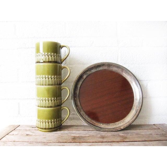 Green Drip Glaze Mugs & Tray - Set of 4 - Image 6 of 6