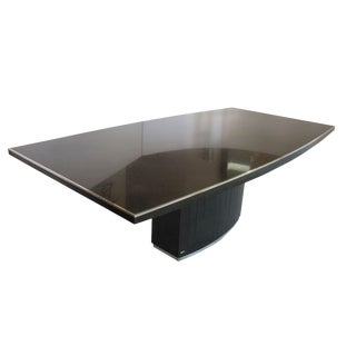 Rare Black Granite and Stainless Steel Dining Table by Willy Rizzo