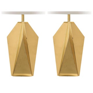 Pair of Brass Geometric Table Lamps