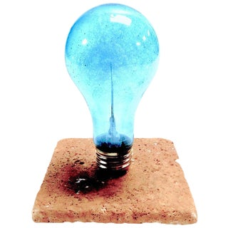 Archaic & Rare GE Photoflash Bulb With Daylight Color. Display As Sculpture. Circa 1940's. Mounted On Stone.