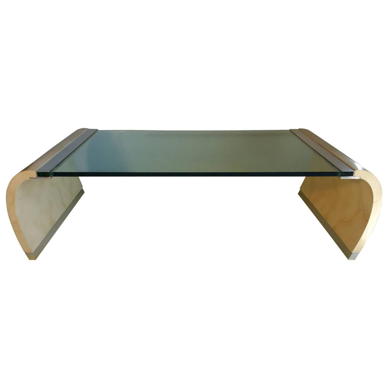 Drexel Lacquer U0026 Glass Waterfall Coffee Table Part 79