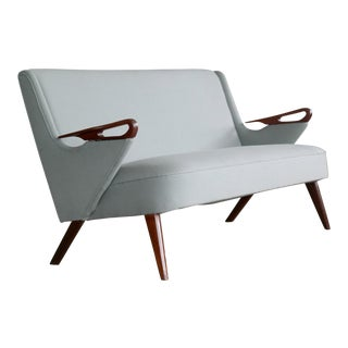 Sven Skipper Attributed 1950s Small Sofa in Wool and Teak Danish, Midcentury