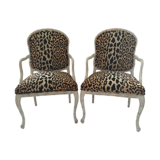 Italian Leopard Chairs - Pair - Image 1 of 6