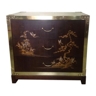 Chinoiserie Hand Painted Brass & Wood Chest
