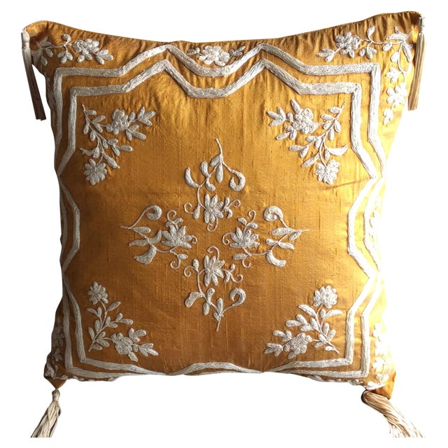 Copper Silk Embroidered Accent Pillow Cover - Image 1 of 5