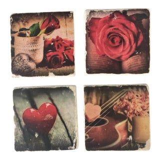 Vintage Romantic Photo Marble Coasters - Set of 4