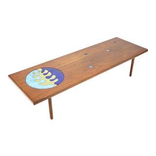 Walnut Inlaid Enamel Disc Coffee Table