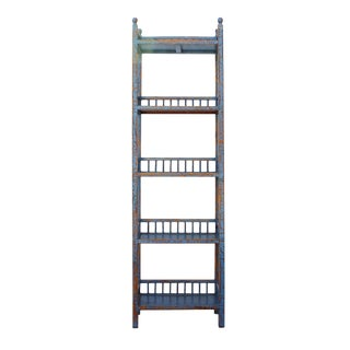 Chinese Distressed Blue Red Simple Slim Display Bookcase Cabinet