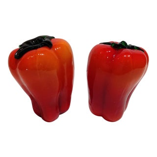 Murano Red Glass Peppers - A Pair