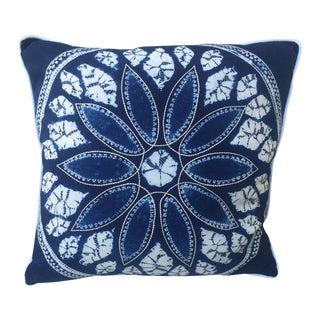 Blue & White Batik Cotton Pillow