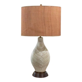 Wood Base Lamps: Mid-Century Oblong Pottery Table Lamp,Lighting