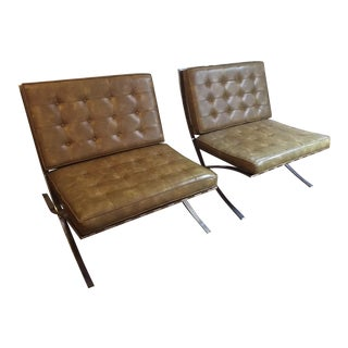 Vintage Pair of Mid-Century Modern Vinyl Barcelona Chairs