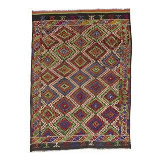 Handwoven Vintage Embroidered Turkish Kilim Rug - 5′1″ × 7′1″