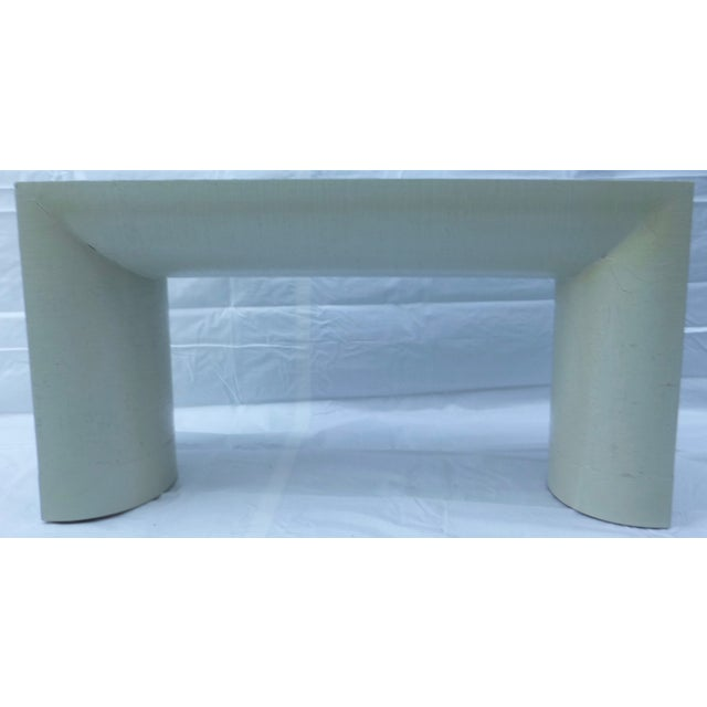 Karl Springer Style Grasscloth Console Table - Image 9 of 9