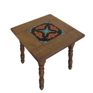 American Craftsman Spanish Style Antique Tile Top Table Accent Table
