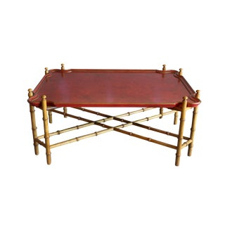 Baker Furniture Faux Bamboo Tray Top Coffee Table