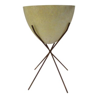 Mid-Century Modern Kimball Atomic Bullet Fiberglass Planter & Authentic Vintage Iron Plant Stand