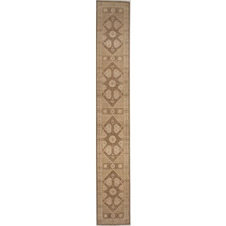 Hand-Knotted Runner in Earth Tone Colors - 3'x20'