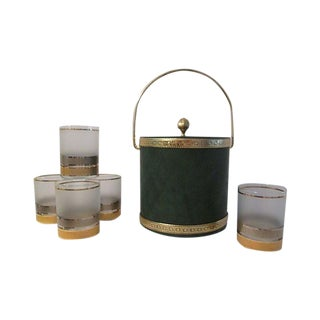 Green & Gold Ice Bucket W/Glasses, 6-Pcs