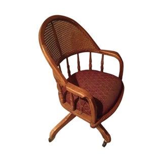 Vintage Cane Lawyers Adjustable Desk Chair