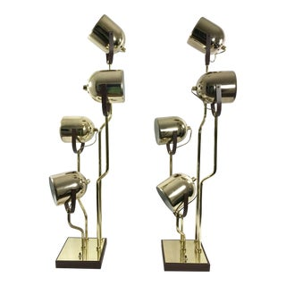 Clover Lamp Co. Brass Pivoting Head Lamp - A Pair