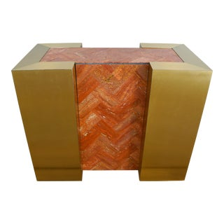 Mid-Century Modern Marble & Brass Dining Table Console Base